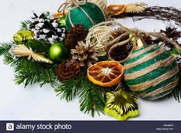 arrangement with rustic ornaments and dried orange