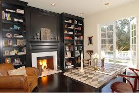 boston building bookshelves around fireplace home office