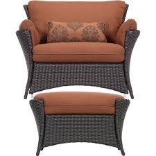 Patio Chairs With Ottoman Amazon Com Hanover Strathmere Allure 2 Piece Set Oversized