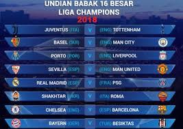 Jadwal Liga Chion Jadwal Liga Chions Eropa 16 Besar Leg 1 Dan Leg 2 2018