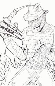 freddy krueger coloring page coloring horror pinterest