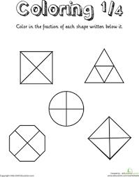 coloring shapes the fraction 1 4 worksheet education com