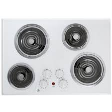 Ge Modular Cooktop Ge 30 In Coil Electric Cooktop In White With 4 Elements Jp328wkww