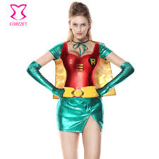 costumes for women green supergirl mini dress carnival party costumes for