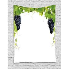 home decor tapestry wine leaf with loose bunch of large berries