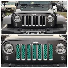 jeep grill logo angry my before and after custom mint green grill insert jeep stuff