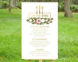 Buffet Menu For Wedding by Buffet Menu Cards Etsy