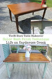 thrift store table makeover u0026 color wash paint technique life on