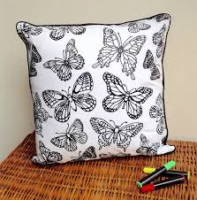 cushion to colour in with flowers by pink pineapple home u0026 gifts