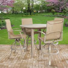 Bar Height Patio Set With Swivel Chairs Outdoor Patio Furniture Plank Bar Height Patio Dining Set Plank