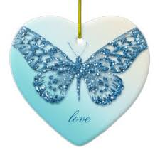 blue glitter butterfly ornaments keepsake ornaments zazzle
