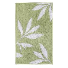 interdesign leaves 34 in x 21 in bath rug in green white 17413