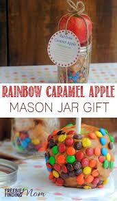 12 days of diy gifts in a jar rainbow caramel apple mason jar gift