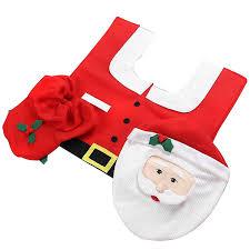 Christmas Bathroom Rugs by Amazon Com Mini Gift Santa Toilet Seat Cover And Rug Set