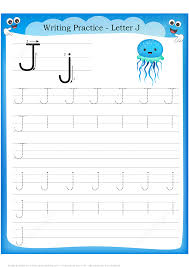 letter j is for jellyfish handwriting practice worksheet free