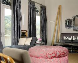 drapes for tall windows living room eclectic with bamboo banquette