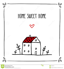 cute doodle card design with phrase about home and small sketch