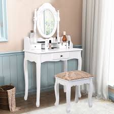 simple vanity makeup table with mirror 3 drawers bedroom