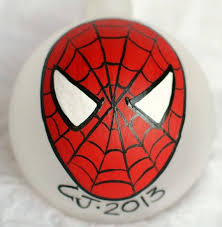 personalized hand painted spider man christmas ornament light