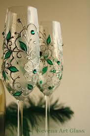 emerald crystal wedding gl hand painted by nevenaartglass