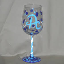 wine glass with initials bridesmaid wine glasses bybecca