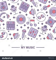 music themed music themed pattern background design place stock vector