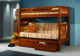 Futon Bedroom Ideas Bedroom Lovely Wood Bunk Beds With Stairs And Bench Plus Storage