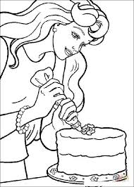 barbie decorating cake coloring free printable coloring pages