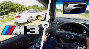 lexus es 350 competitors lexus gs f vs bmw m3 competition acceleration autobahn pov sound