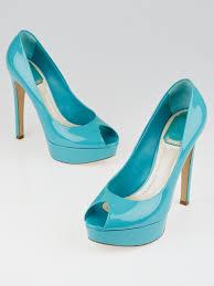christian dior turquoise patent leather platform peep toe miss