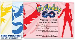 pokémon go birthday go free printable invitations