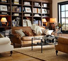 Leather Couch In Living Room by Brooklyn Leather Sofa Pottery Barn