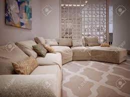 Modern Beige Sofa by Large Corner Sofa In A Modern Style From Fabric Beige Cushions