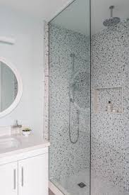 gray and blue mosaic shower tiles with shower niche transitional