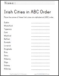irish cities in abc order worksheet free printable ela english