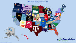Alabama State Map The Largest Employers In Each State Map Broadview Networks