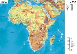 africa map elevation real map collection mappery