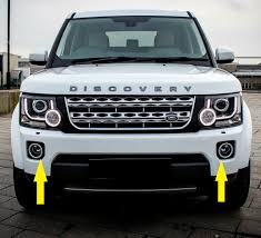 land rover discovery black front bumper silver black fog lamp bezel surrounds land rover