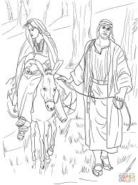 mary and joseph on the road to bethlehem coloring page free