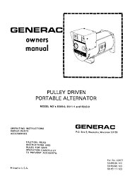 wheel horse pulley driven generac portable generator owners manual