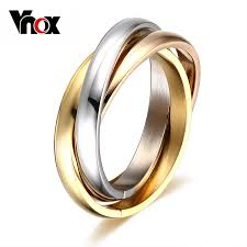 aliexpress buy vnox 2016 new wedding rings for women vnox classic 3 rounds ring sets for women stainless steel wedding