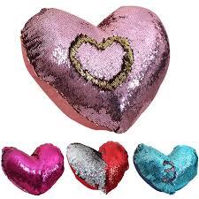 Heart Home Decor Mermaid Heart Shaped Sequins Throw Pillow Case Cushion Cover Home