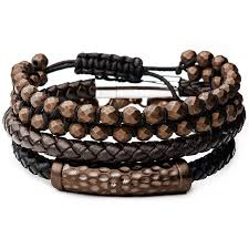 bracelet beads leather images Mocha mens bracelet stack brown leather and steel with hematite beads png