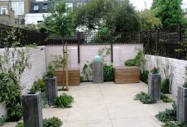 Concrete Planters Garden With Concrete Planters Water Feature And Polished Concrete