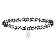 black chokers necklace images Hors pendant black lace chokers necklace little trendy stuff jpg