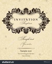 Weeding Invitation Card Wedding Invitation Cards Baroque Style Brown Stock Vector