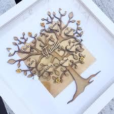family tree frame family picture gift grey home decor family