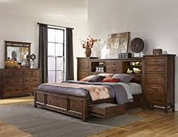 amazon com intercon wolf creek king storage bed w bookcase