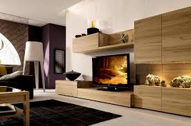 Simple Tv Cabinet With Glass Living Room Beige Leather Long Sofa With Round Ottoman Movie