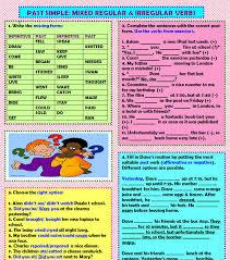 simple mixed regular u0026 irregular verbs key